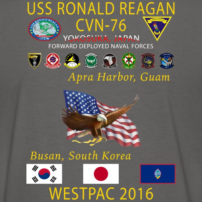 USS RONALD REAGAN CVN-76 WESTPAC 2016 WOMENS CRUISE SHIRT
