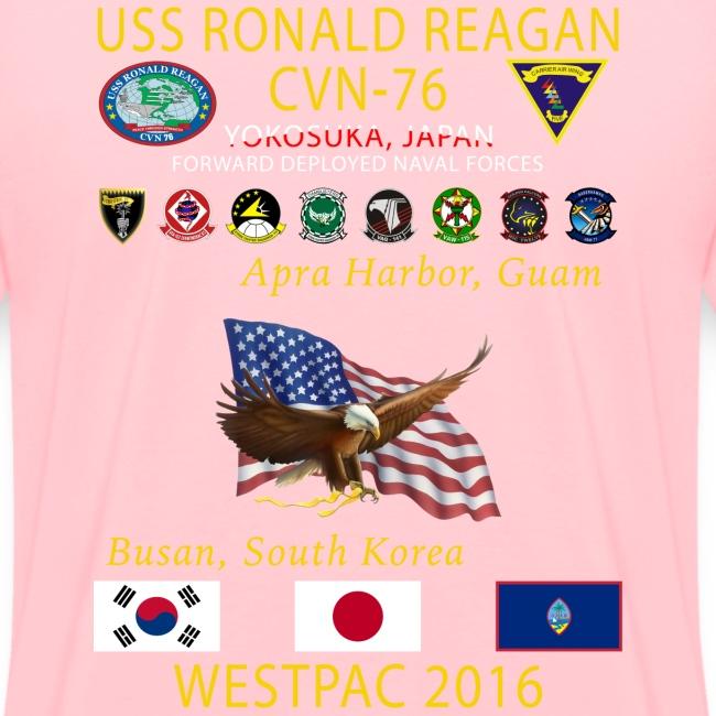 USS RONALD REAGAN CVN-76 WESTPAC 2016 WOMENS CRUISE SHIRT