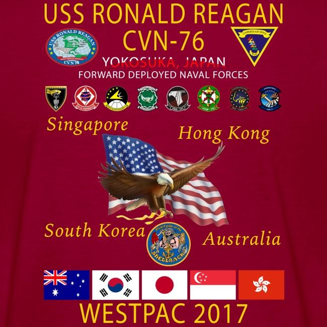 USS RONALD REAGAN CVN-76 WESTPAC 2017 WOMENS CRUISE SHIRT