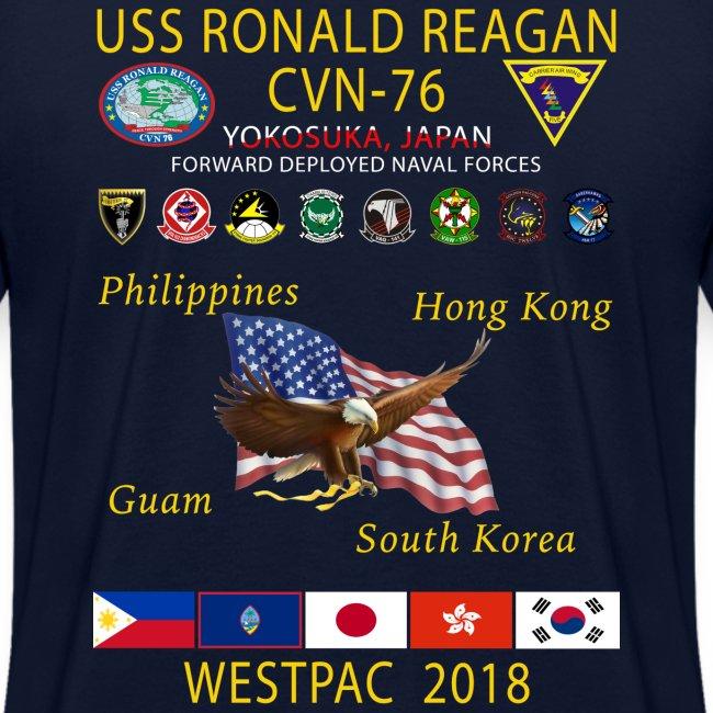 USS RONALD REAGAN CVN-76 WESTPAC 2018 WOMENS CRUISE SHIRT
