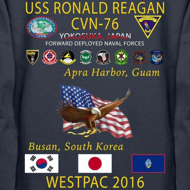USS RONALD REAGAN CVN-76 WESTPAC 2016 WOMENS HOODIE