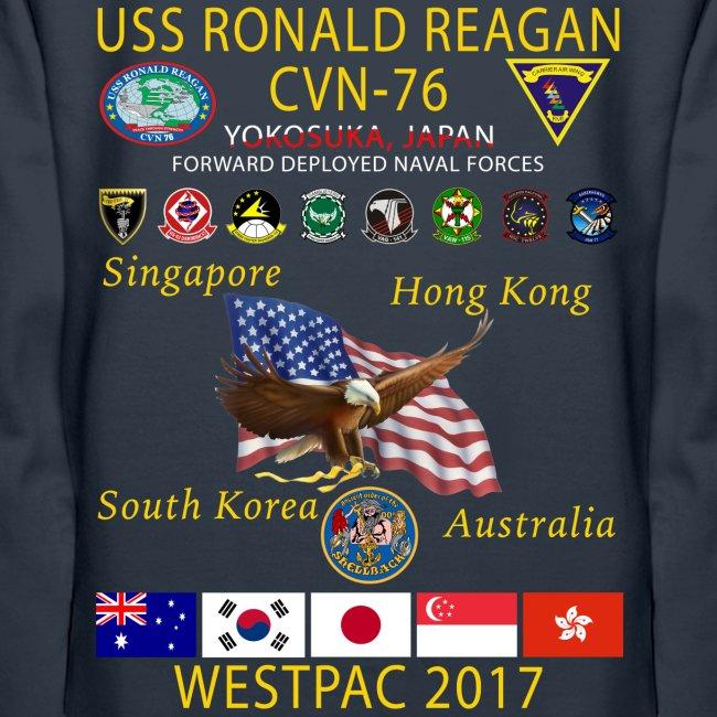 USS RONALD REAGAN CVN-76 WESTPAC 2017 WOMENS HOODIE