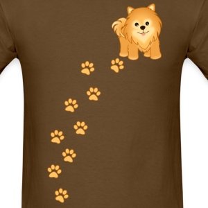 Cute Pomeranian Puppy Dog Cartoon - Men's T-Shirt