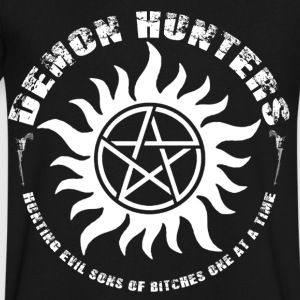 Demon Hunters Colt guns Rocker design white T-Shirts - Men's V-Neck T-Shirt by Canvas