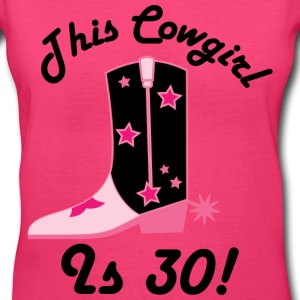 30th Birthday (Cowgirl) T-shirt | Birthday Shirts - Women's V-Neck T-Shirt