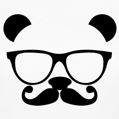 Panda with glasses and mustache Long Sleeve Shirts