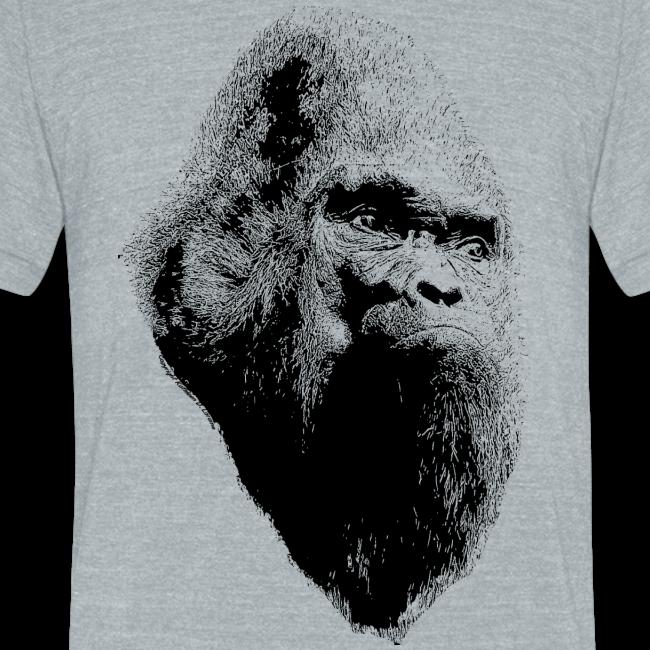 Sasquatch Bigfoot Portrait Black Print - Unisex Heather Tri Blend Shirt