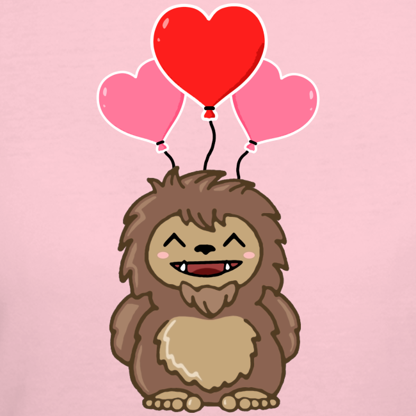 Little Sasquatch Bigfoot Happy Valentine's Day Shirt - Love - Heart Balloons - Women's 50/50 Shirt