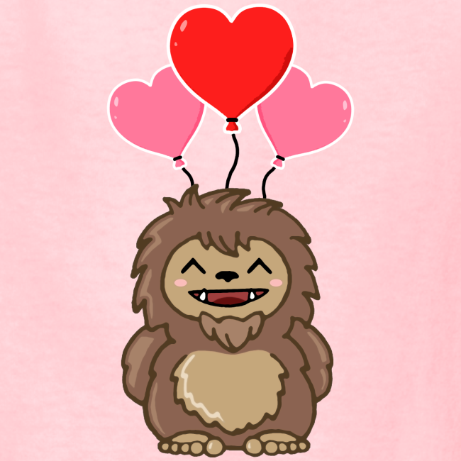 Little Sasquatch Bigfoot Happy Valentine's Day Shirt - Love - Heart Balloons - Kids Shirt