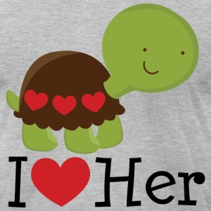 I Heart Her (Turtle) Mens T Shirt | Matching Datin - Men's T-Shirt by American Apparel