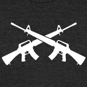 M16 Assault Rifles - Crossed - Unisex Tri-Blend T-Shirt by American Apparel