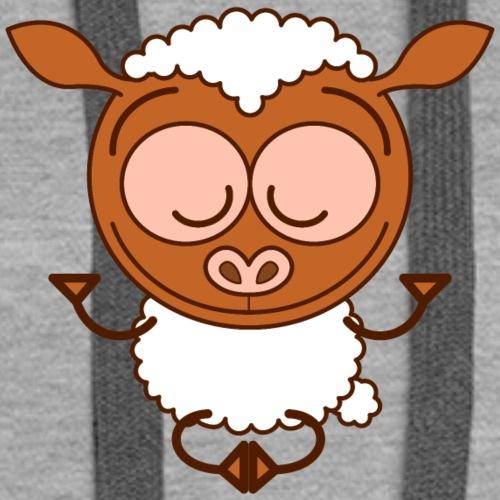 Brown sheep meditating in lotus pose