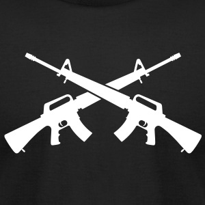M16 Assault Rifles - Crossed - Men's T-Shirt by American Apparel