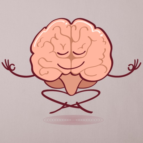 Cartoon brain meditating in lotus pose