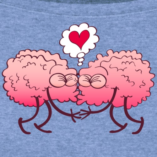 Couple of brains in love kissing passionately