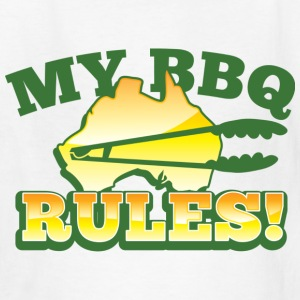 MY BBQ RULES with tongs barbecue aussie map Kids' Shirts - Kids' T-Shirt