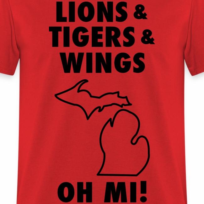 size 40 c684b 24138 Lions & Tigers & Wings Oh MI! black | Men's T-Shirt