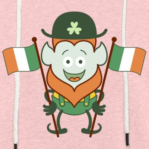 St Paddy's Day Leprechaun posing with Irish flags