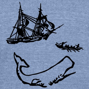 Moby Dick Illustration T-Shirts - Unisex Tri-Blend T-Shirt by American Apparel