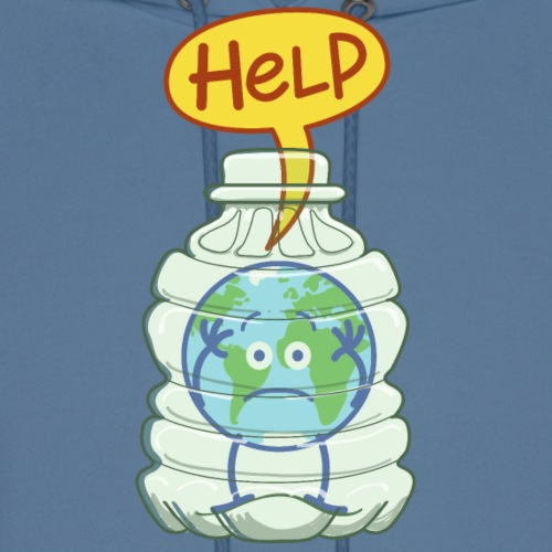 Earth inside a plastic bottle asking for help