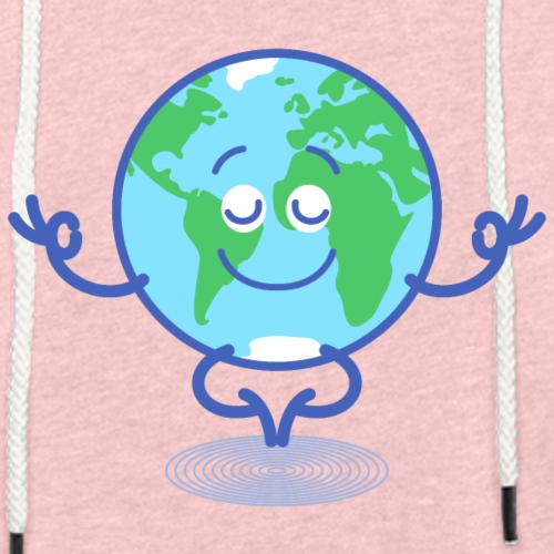 Planet Earth meditating and smiling