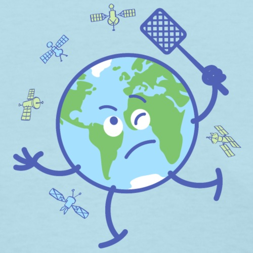 Earth chasing satellites with fly swatter