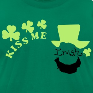 Kiss me Irish man in shamrock hat Men's T-Shirt by - Men's T-Shirt by American Apparel