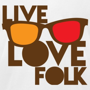 LIVE LOVE FOLK with nerdy glasses T-Shirts - Men's T-Shirt by American Apparel