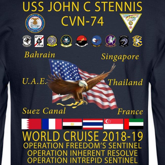 USS JOHN C STENNIS 2018-19 WORLD CRUISE SHIRT - LONG SLEEVE