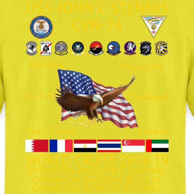 USS JOHN C STENNIS 2018-19 WORLD CRUISE SHIRT