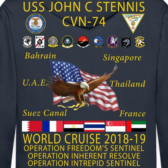 USS JOHN C STENNIS 2018-19 WORLD CRUISE HOODIE