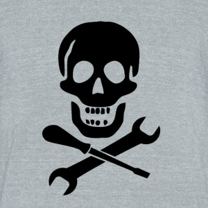 Mechanic Skull - Unisex Tri-Blend T-Shirt by American Apparel