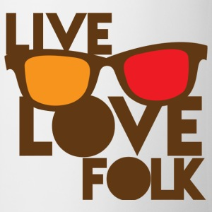 LIVE LOVE FOLK with nerdy glasses Bottles & Mugs - Coffee/Tea Mug
