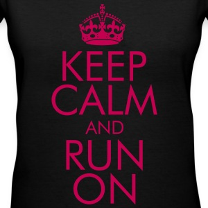 Keep Calm and Run On Women's T-Shirts - Women's V-Neck T-Shirt