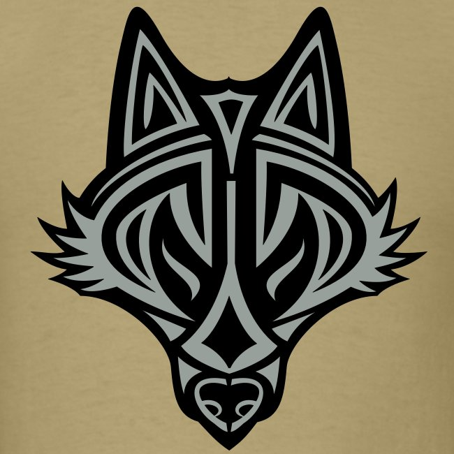 Graphic Wolf (Silver/Black) Men's Standard Weight T-Shirt
