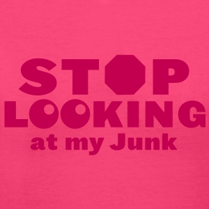 STOP SIGN looking at my junk Women's T-Shirts - Women's V-Neck T-Shirt