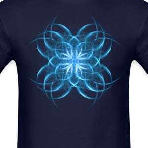 Tribal Ice - blue geometric fractal art  - Men's T-Shirt