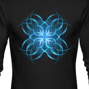 Tribal Ice - blue geometric fractal art  - Men's Long Sleeve T-Shirt by Next Level