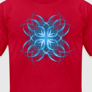 Tribal Ice - blue geometric fractal art  - Men's T-Shirt by American Apparel