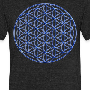 Blue Flower of Life - Sacred Geometry Symbol - Unisex Tri-Blend T-Shirt by American Apparel