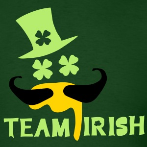 TEAM IRISH  mustache man in green hat st.patty's d - Men's T-Shirt