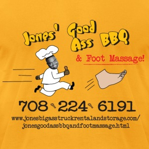 Jones Good Ass BBQ and Foot Massage logo T-Shirts - Men's T-Shirt by American Apparel