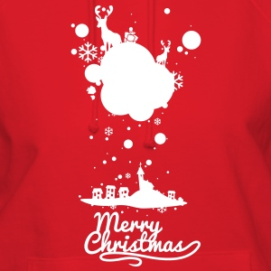 Christmas symbols with snow and merry christmas Ho - Women's Hoodie