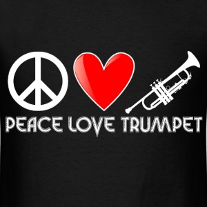 Peace, Love, Trumpet - Men's T-Shirt