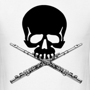 Skull with Flute Crossbones - Men's T-Shirt