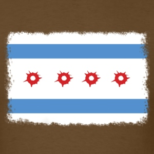 Bullet Hole Chicago Flag T-Shirts - Men's T-Shirt