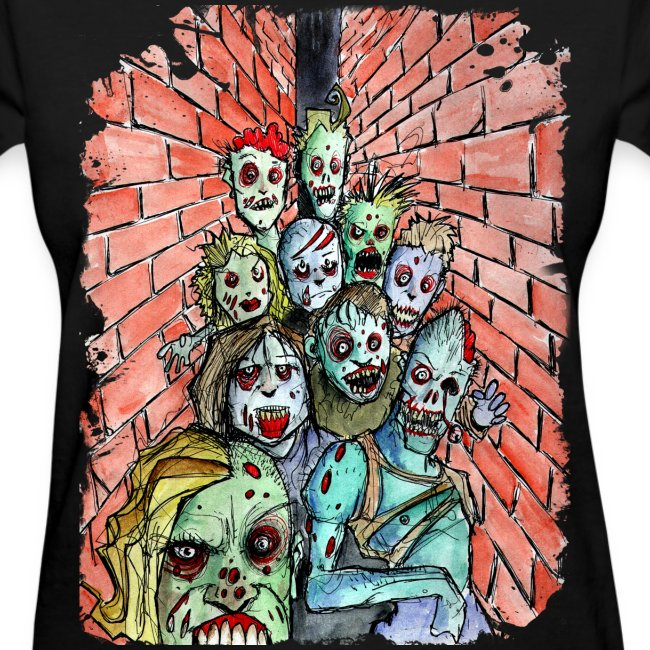 womens back alley zombie horde