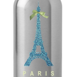 Blue Paris Eiffel Tower with bow Bottles & Mugs - Water Bottle