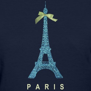 Blue Paris Eiffel Tower with bow Women's T-Shirts - Women's T-Shirt