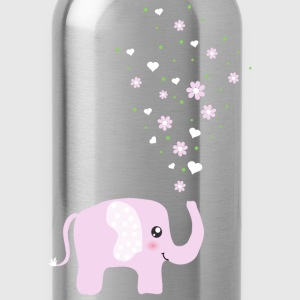 Cute Pink Elephant cartoon Bottles & Mugs - Water Bottle